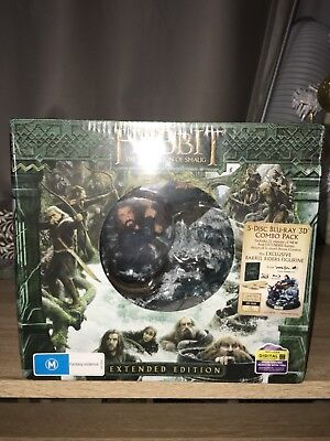 NEW The Hobbit The Desolation of Smaug 5-Disc Blu-Ray Extended Edition w/ Statue