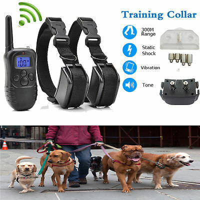 Rechargeable Waterproof Remote LCD Electric Shock Vibrate Dog Training Collar AT