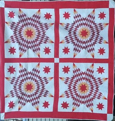 """Queen Antique Quilt, """"Lone Stars with Red Satellite Stars"""" #18209"""