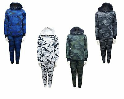Kids Boys Camouflage Print Tracksuit Hooded Top & Jog Bottoms Set 4-14 Years
