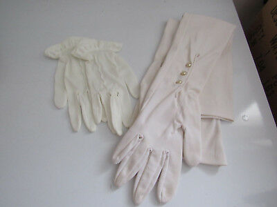 Vintage Pair Ladies White Gloves Evening Dress Wedding And Pair Of Childs Gloves