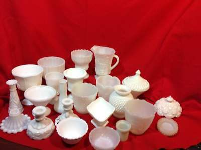 Milk Glass Vases Candlesticks Candy Dishes Pitchers Covers Bowls etc
