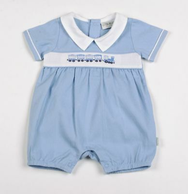 BABY BOY SMOCKED SPANISH ROMPERS BLUE BABYGROW SLEEPSUIT NEWBORN-3 MONTHS
