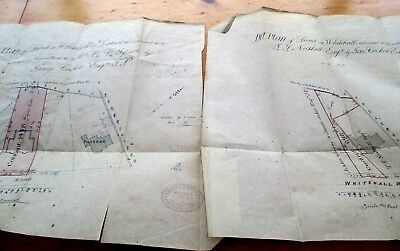 1896 Antique Hand Drawn Maps On Parchment. Whitehall Area Blackburn