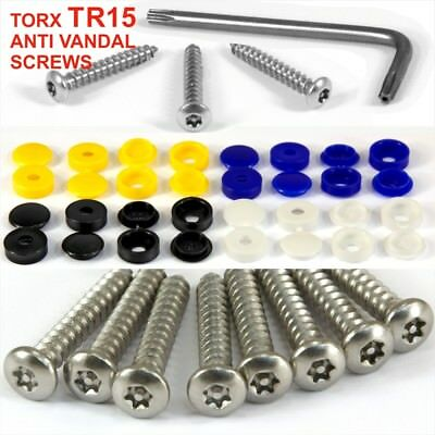 Number plate security screws caps HINGED wrench tool screwdriver FIXING Kit 25x
