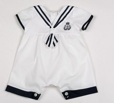 Baby Boys Clothes  Sailor Romper spanish Style white 0-3 months 3-6 months 6-9 m
