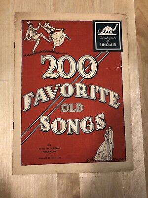 "Antique Booklet of ""200 Favorite Old Songs"" Compliments Of Sinclair Oil"