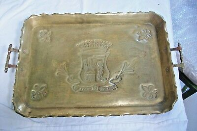 Vintage French Brass Basque armorial plaque, handles added serving tray #5