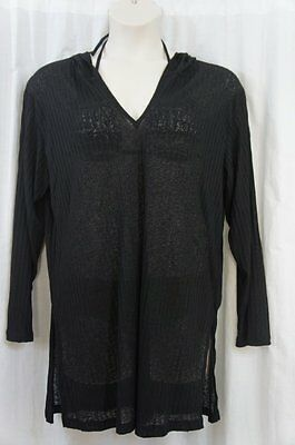 26ee0718802f3 J. Valdi Cover Up Sz L Black Hooded Ribbed Long Sleeve Tunic Swim Cover  27601
