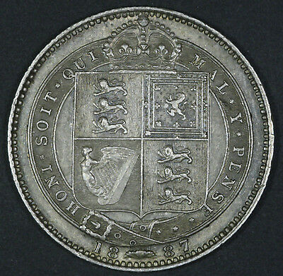 1887 UK Great Britain Shilling KM# 761 Sterling Silver Coin gEF+