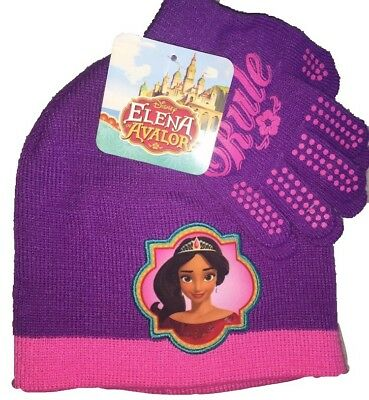 new product 56eed 8f1d4 Elena Avalor Disney Princess Girls Winter Hat Glove Set Beanie Purple Pink  NWT