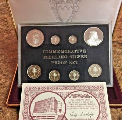 Bahrain Sterling Silver Proof Set 8 Coins 1403-1983 Isa Town COA