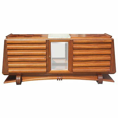 French Art Deco Solid Mahogany Buffet by Gaston Poisson, circa 1940's AS IS