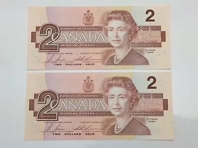 1986 Canada 2 Two Dollar EGR Prefix 2 Consecutive Uncirculated Banknote E945