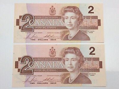1986 Canada 2 Two Dollar EGU Prefix 2 Consecutive Uncirculated Banknote E946