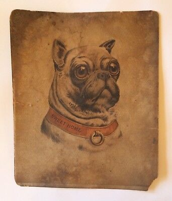 JD Larkin & Co Sweet Home Large Victorian Trade Card Dog Bulldog Pug Antique