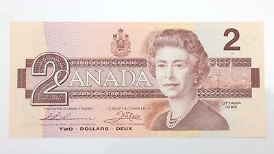 1986 Canada 2 Two Dollar BRV Prefix Canadian Uncirculated Banknote E948