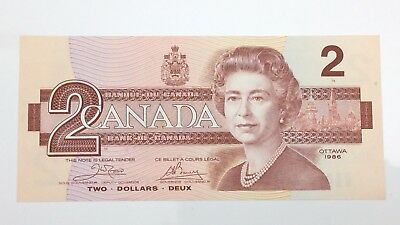 1986 Canada 2 Two Dollar ARW Prefix Canadian Uncirculated Banknote E950