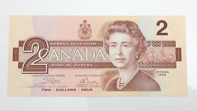 1986 Canada 2 Two Dollar AUE Prefix Canadian Uncirculated Banknote E952