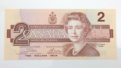 1986 Canada 2 Two Dollar ARH Prefix Canadian Uncirculated Banknote E953
