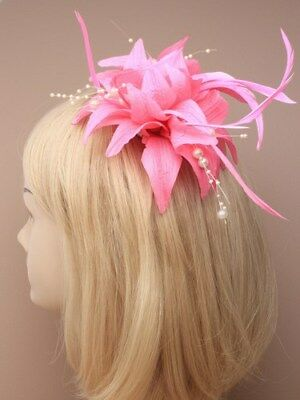 light pink fascinator with pearls clip for Ascot , Races, Weddings, Ladies Day