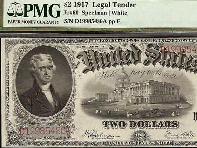 Large 1917 $2 Two Dollar United States Legal Tender Note 1998 Birth Yr Sn Pmg 45
