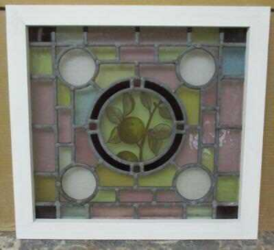 """OLD ENGLISH LEADED STAINED GLASS WINDOW Vivid Handpainted Tree 19.75"""" x 18.5"""""""