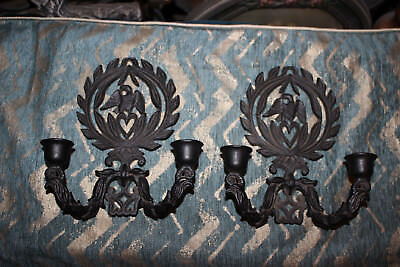 Vintage Cast Iron Double Arm Wall Sconce Candlestick Holders-Pair-Eagle Heart