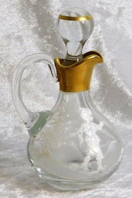 ANTIQUE Victorian MARY GREGORY Clear Glass Cruet