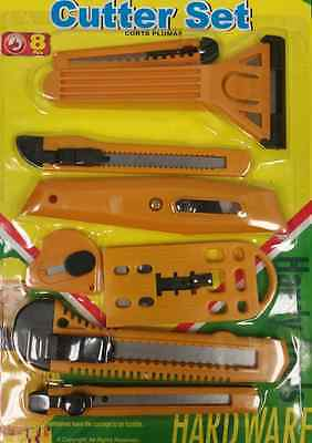 8 pc Utility Cutter Set Snap-Off Razor Knife Scraper Carton Box Envelope Opener