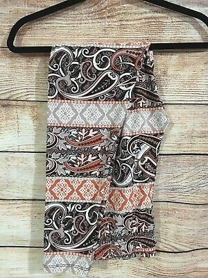 Tall and Curvy Super Soft Leggings Cream Tan Paisley Cleopatra Plus P223N