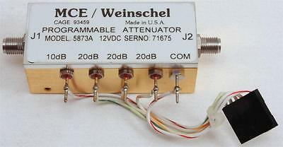 MCE Weinschel PROGRAMMABLE ATTENUATOR MODEL 5873A 70db 12VDC DC-4Ghz RACAL F3-48