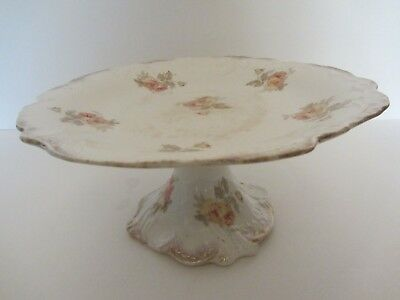 Antique Cake Plate Dessert Stand~Ridgways Roslyn Semi Porcelain~Neo Rococo Roses