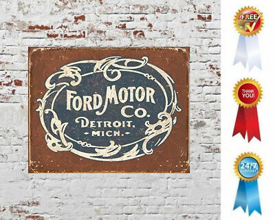 "Ford Historic Logo Decor Metal Tin Wall Sign Retro Vintage Detroit 16"" X 12.5"""