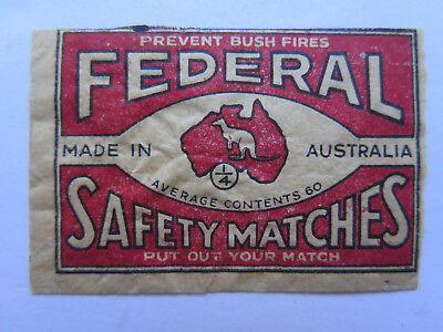 FEDERAL SAFETY MATCHES MATCH BOX LABEL c1930s AUSTRALIAN SMALL SIZE SCARCE