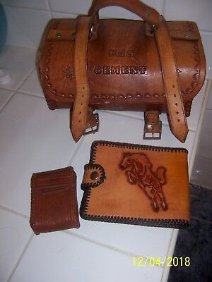 vintage leather tooled bag and wallet/purse and cig case