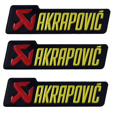 3x Motorcycle Genuine AKRAPOVIC  Heat Resistant Exhaust 140x39 Sticker Decal