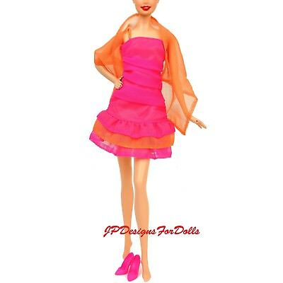 Barbie Chic Ruched Fashion Orange and Pink Sheath Dress Sheer Wrap Shoes NO DOLL