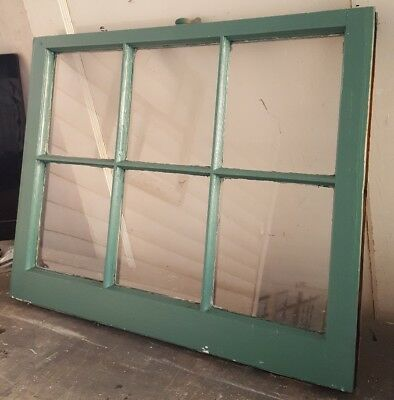 Architectural Salvage ANTIQUE TEAL GREEN WINDOW SASH 32x28 6 PANE