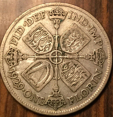 1929 Gb Uk Great Britain Florin .500 Silver