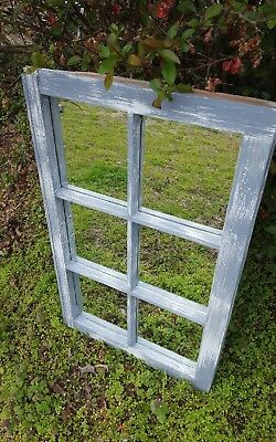 Architectural Salvage 36x20 6 PANE ANTIQUE WINDOW SASH, DISTRESSED GRAY MIRRORS