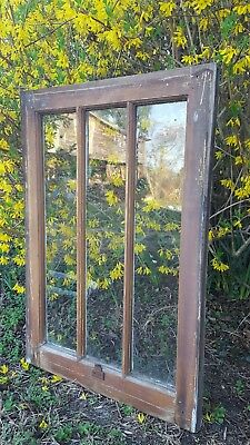30x20 DISTRESSED AND CHIPPY RUSTIC ANTIQUE WINDOW SASH WAVY GLASS, 3 PANES