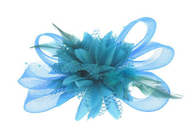 Blue tonal mesh and feather fascinator clip , party prom
