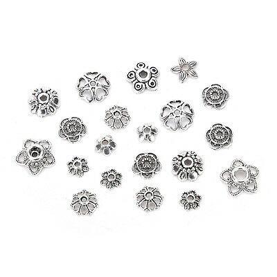 60g/250pcs Antiqued Silver Hollow Flower End Bead Caps For Jewelry Craft Nice