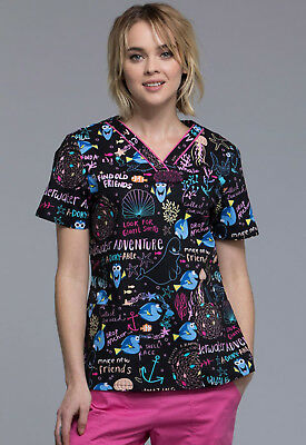 Finding Nemo Cherokee Scrubs Tooniforms Disney V Neck Top TF610 FNUA