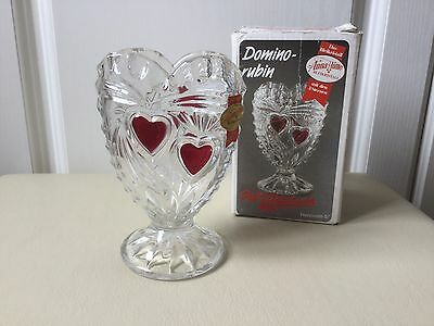 "Bleikristall Anna Hutte Lead Crystal Glass HeartVase 5"" Germany"