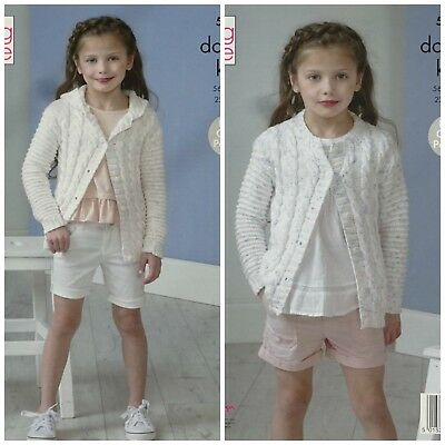 KNITTING PATTERN Girls Cable Cardigan & Hooded Cable Jacket DK King Cole 5123
