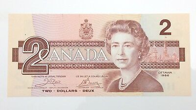 1986 Canada 2 Two Dollar ART Prefix Canadian Uncirculated Banknote E963