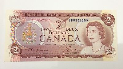 1974 Canada 2 Two Dollar BB Prefix Canadian Uncirculated Banknote E965