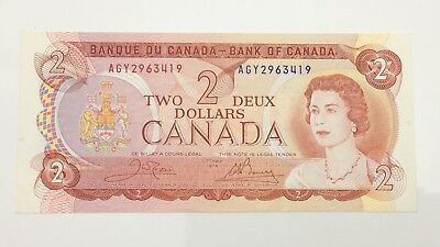 1974 Canada 2 Two Dollar AGY Prefix Canadian Uncirculated Banknote E967